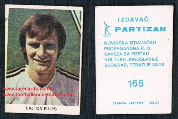 1981 Yugoslavian card Leighton Phillips Swansea City Cardiff Villa Charlton Wales